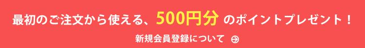最初の注文から使える500円分のポイント!