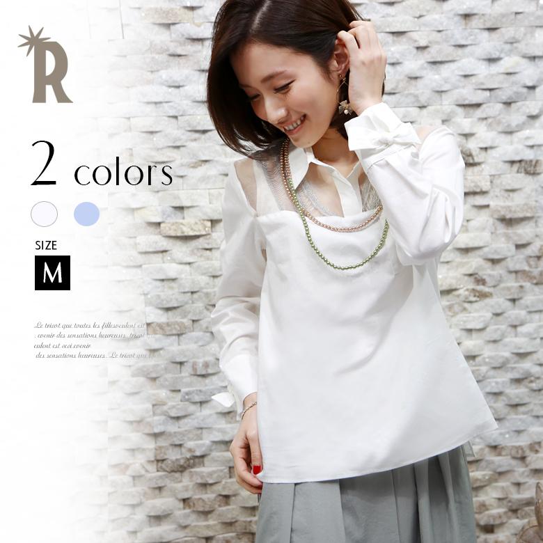 【サマーセール】RUXE de'vance Made in Japan 袖口リボン透かし切替えシャツプルオーバー(631551)※返品交換不可