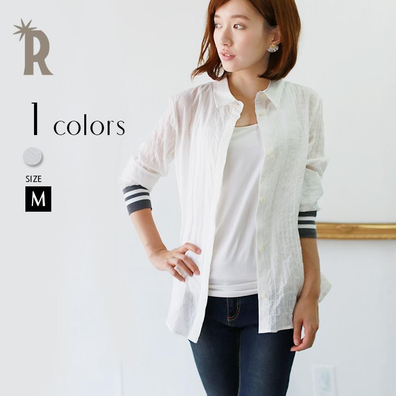 【特別価格】LUGIVA 袖口ラインバックメッシュ切替えデザインシワ感シャツ(152291)
